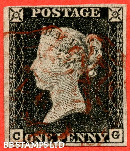 """SG. 3. A1 (3). AS2 . """" CG """". 1d Grey-Black ( worn plate ). Plate 1A. A fine used example with the """" Ray flaws 10 / 5 NW square """" variety."""