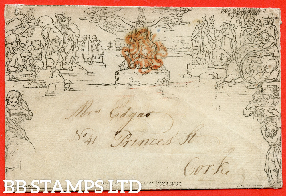 """SG. ME2b. 1d Mulready envelope. Stereo """" A155 Forme 3 """". A fine used example from SWANSEA to CORK dated 11th February 1841."""