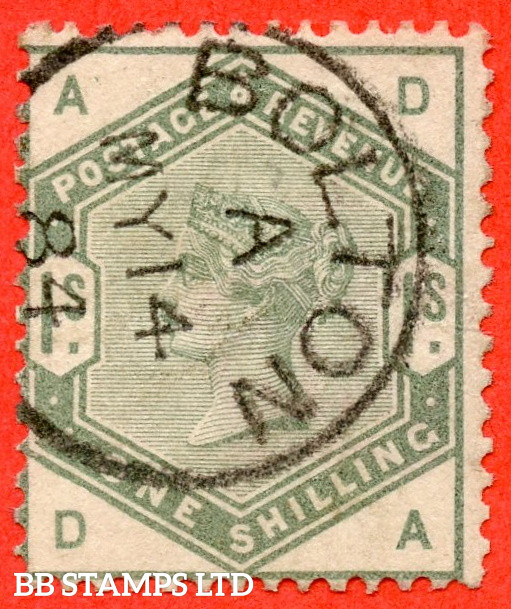 """SG. 196. K26. """" DA """". 1/- Dull Green. A very fine """" 14th May 1884 BOLTON """" CDS used example of this difficult Victorian stamp."""