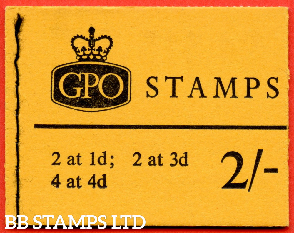SG. N26pL. 2/- 8mm Violet Phosphor 1966 October. Multiple Crown. 1d at Left on 1d/3d Pane. Orange-Yellow Cover Type C