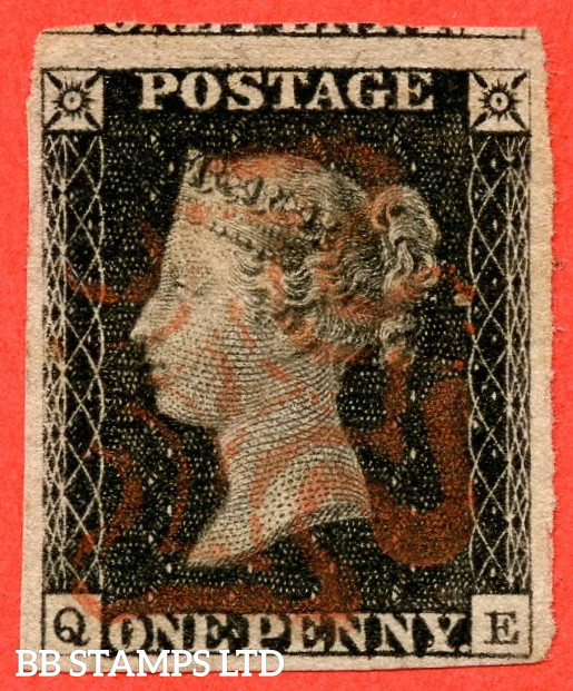 """SG. 2. A1 (2). AS5. """" QE """". 1d Black. Plate 1b. A fine used example with the """" Ray Flaws 10 / 7 NW Square """" variety."""
