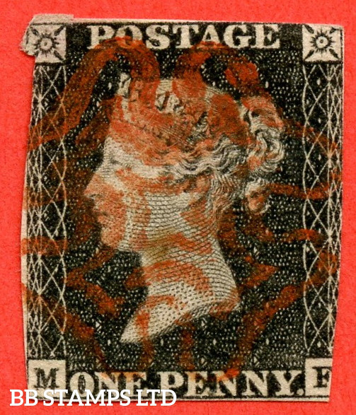"""SG. 2 b. A1 (2) g. AS2 d . """" MF """". 1d Grey Black ( worn plate ). Plate 1A. A very fine used example with the listed variety """" Double letter ' M ' """". Also """" Ray flaws 10 / 5 NW square and vertical guide line NE square extending above """" varieties. Faults bu"""