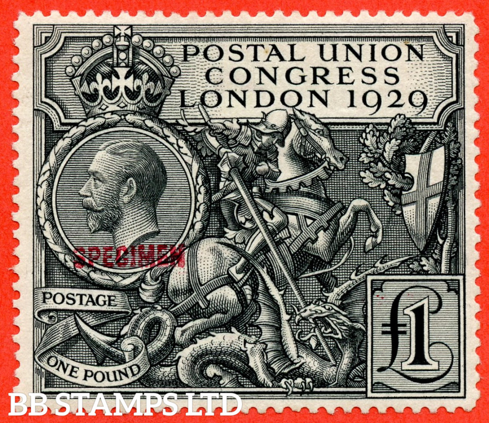 """SG. 438 s. NCom9 s. £1.00 Postal Union Congress. A fine mounted mint example overprinted """" SPECIMEN """" Type 32 in red. A scarce stamp."""