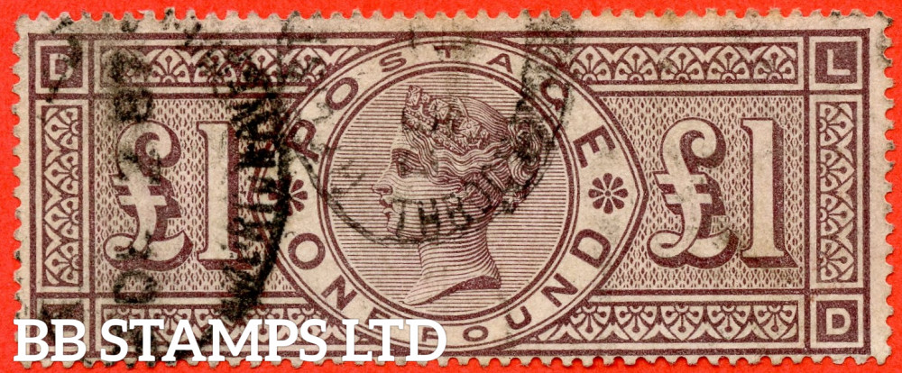 """SG. 185. K15. """" LD """". £1.00 Brown - Lilac. A good - fine used example."""