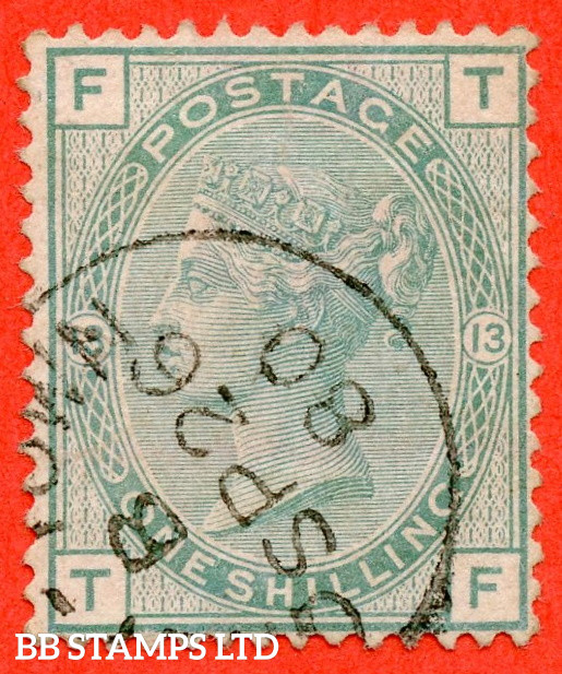 """SG. 150. J113. """" TF """". 1/- Green. Plate 13. A very fine """" 26th September 1880 """" CDS used example."""