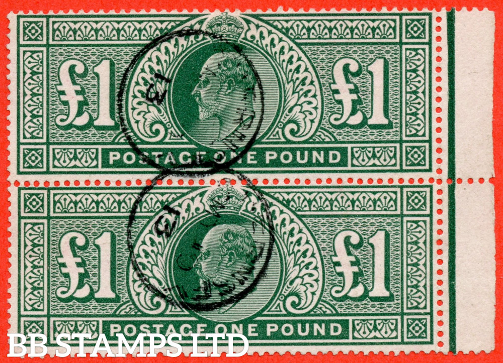 """SG. 320. M56. £1.00 Deep Green. A very fine """" 10th May 1913 GUERNSEY """" CDS used right hand marginal vertical pair."""