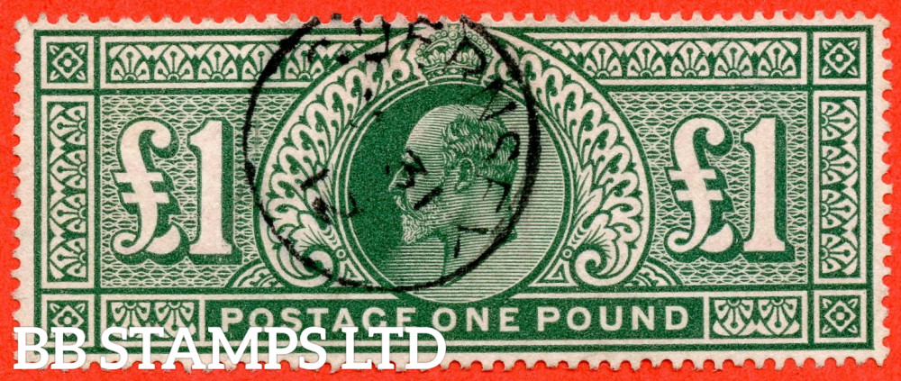 """SG. 320. M56. £1.00 Deep Green. A very fine """" 1912 GUERNSEY """" CDS used example."""
