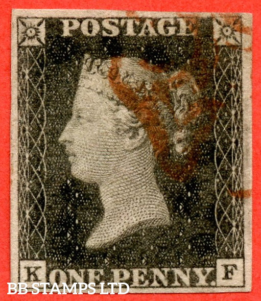 """SG. 3. A1 (3). AS2 . """" KF """". 1d Grey-Black ( worn plate ). Plate 1A. A very fine used example with the """" Ray flaws 10 / 5 NW square """" variety. A lovely clear profile."""
