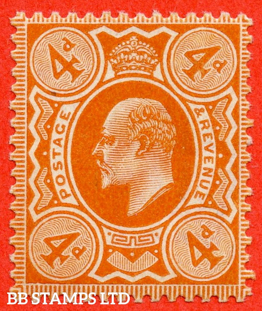SG. 239. M25 (1). 4d Brown - Orange. A very fine UNMOUNTED MINT example complete with RPS certificate.