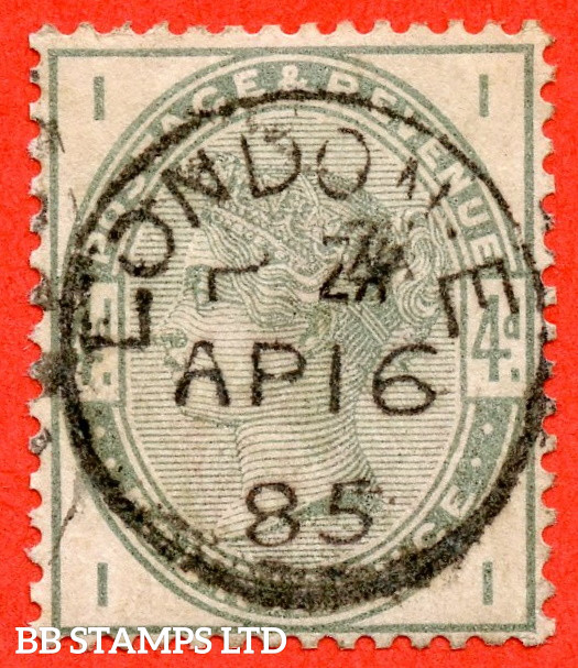 """SG. 192. K22. """" II """". 4d Dull Green. A super """" 16th April 1885 LONDON """" CDS used example."""