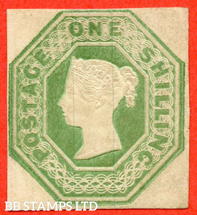 SG. 54. H1 (1). 1/- Pale Green. Die 1. A fine mounted mint example. A scarce stamp in this grade.