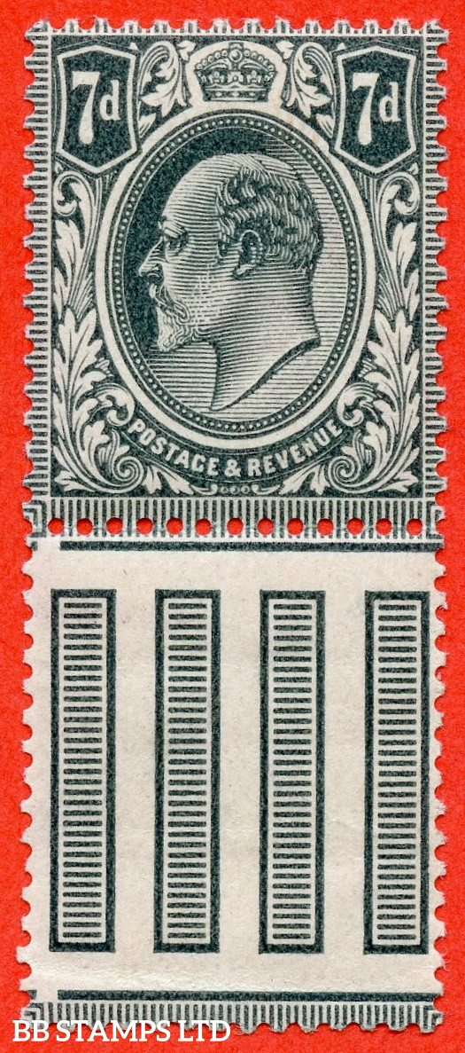 SG. 249a. M37 (2). 7d Deep Grey Black. A super UNMOUNTED MINT interpanneau marginal example complete with RPS certificate.