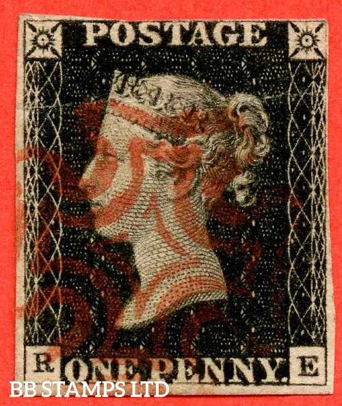 """SG. 2. A1 (2). AS5 g. """" RE """". 1d Black. Plate 1b. A fine used example with the listed """" Burr rubs to ' ONE PEN ' of ' ONE PENNY ' with ' NE ' of ' ONE ' nearly joined """" variety. Also """" Ray Flaws 10 / 7 NW square """" variety. Faults but a great spacefiller."""