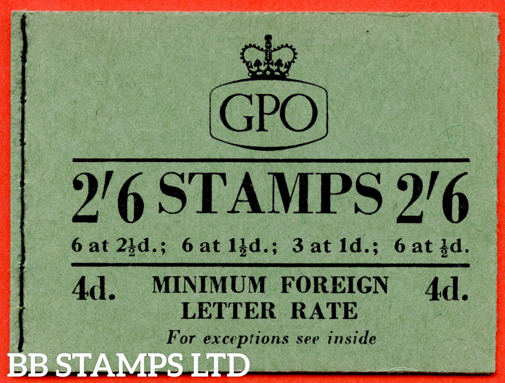 SG. F19. 2/6 1954 July. Tudor Crown. 1d Advert Pane Post Early. Green Cover Type B