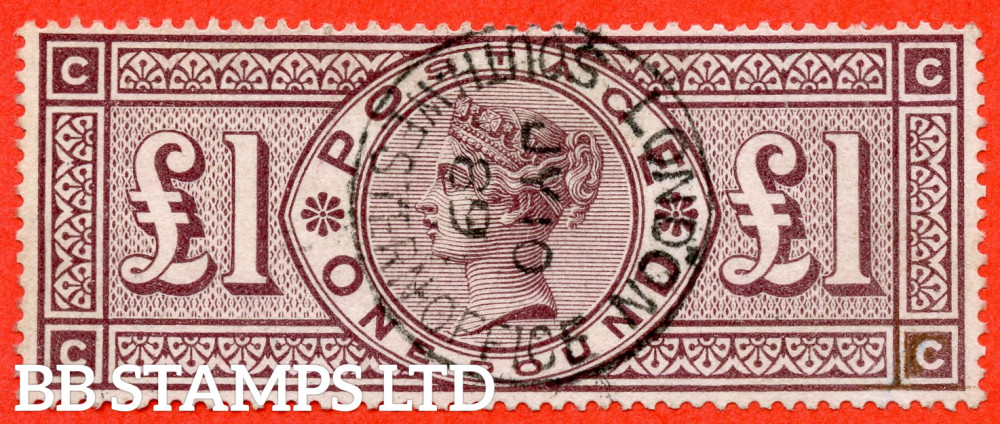 """SG. 186. K16. """" CC """". £1.00 Brown - Lilac. A superb """" 10th July 1889 LONDON """" CDS used example of this RARE Victorian high value."""
