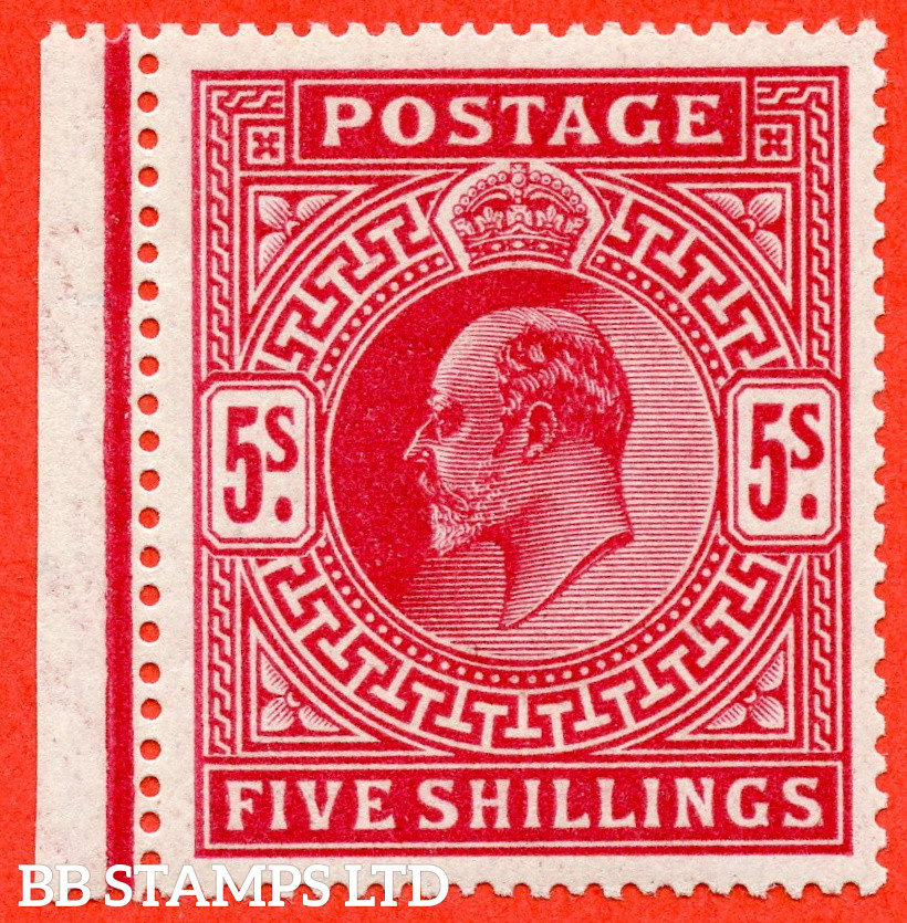 SG. 318 Variety M52 (1). 5/- Carmine Red. A very fine UNMOUNTED MINT left hand marginal example.