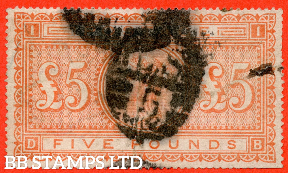 """SG. 137. J128a. """" DB """". £5.00 Orange. A good used example with small faults but a great spacefiller."""
