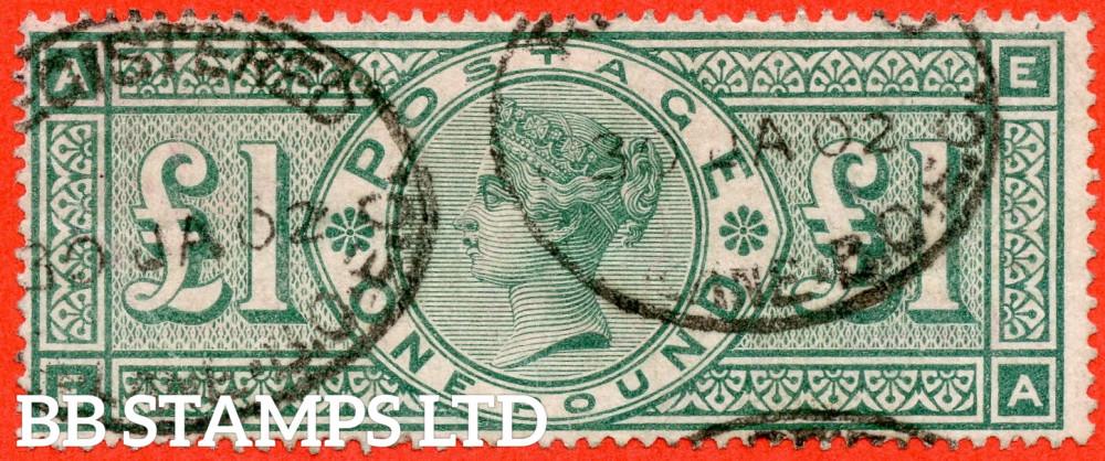 """SG. 212. K17. £1.00 Green """" EA """". A fine """" 30th January 1902 """" oval registered used example."""