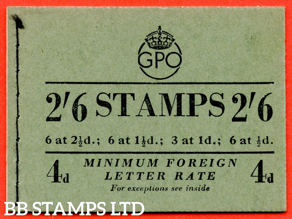 SG. F5. 2/6 1953 September. GVI and QEII Mixed. 1d Advert Pane PPR 17mm. Green Cover Type A