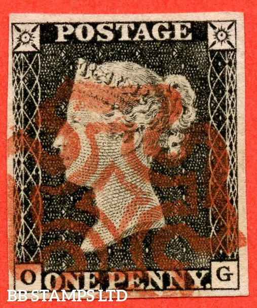 """SG. 3. A1 (3). AS3 . """" OG """". 1d Grey-Black ( very worn plate ). Plate 1A. A superb used example with the """" Ray flaws 10 / 5 NW square """" variety."""