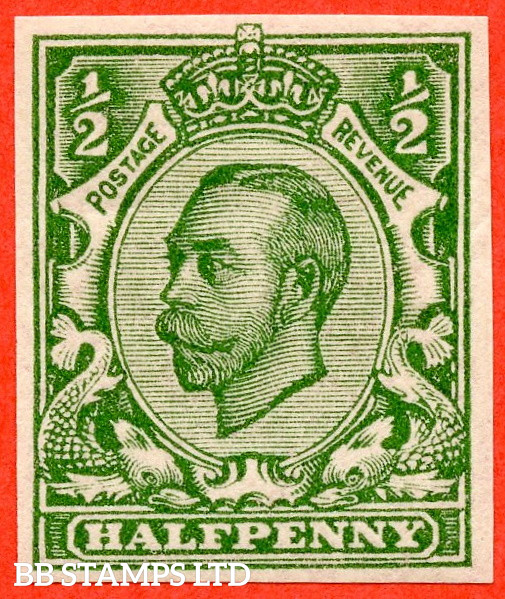 """SG. 346b. N6 (1) f. ½d Green """" IMPERF """". A fine mounted mint example of this scarcer Downey variety."""