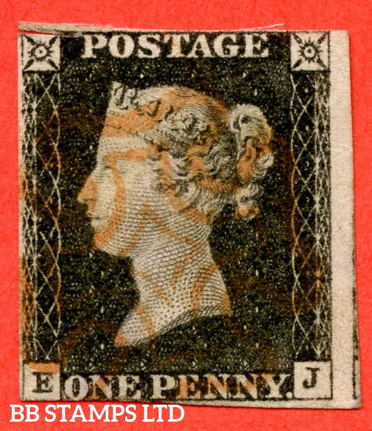 """SG. 3. A1 (3). AS2 . """" EJ """". 1d Grey-Black ( worn plate ). Plate 1A. A fine used example with the """" Ray flaws 10 / 5 NW square """" variety. Faults but a good spacefiller."""