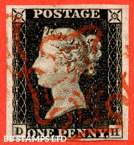 """SG. 1. A1 (1). AS1 . """" DH """". 1d Intense Black ( early impressione ). Plate 1A. A fine used example with the """" Ray flaws 10 / 5 NW square """" variety."""