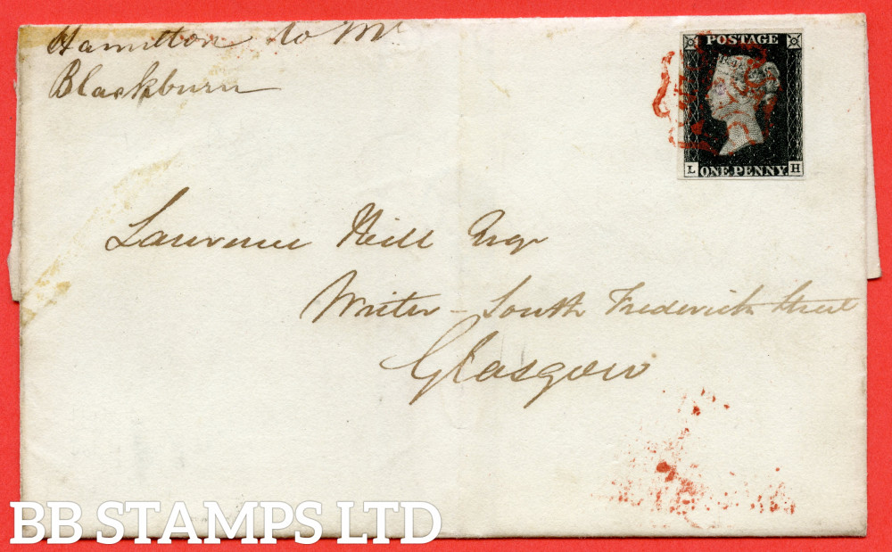 """SG. 2. A1 (2). AS41. """" LH """". 1d Black. Plate 6. A very fine used example on cover from HAMILTON to GLASGOW. Cancelled by a red maltese cross with the """" Dot to left of ' H ' in SE square """" variety."""