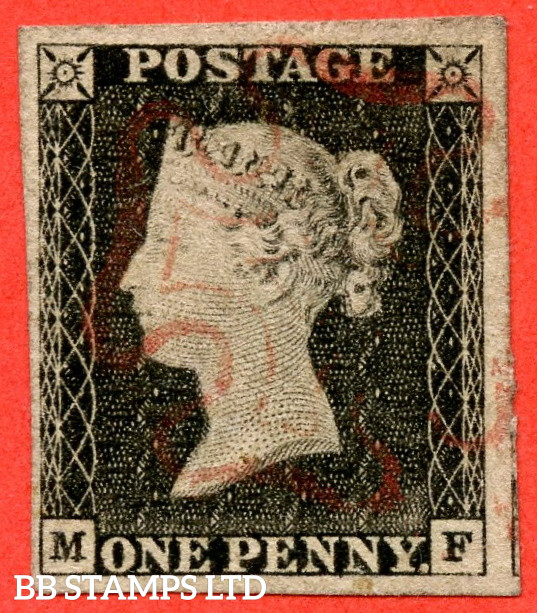 """SG. 2 b. A1 (2) g. AS2 d . """" MF """". 1d Grey Black ( worn plate ). Plate 1A. A very fine used example with the listed variety """" Double letter ' M ' """". Also """" Ray flaws 10 / 5 NW square and vertical guide line NE square extending above """" varieties."""