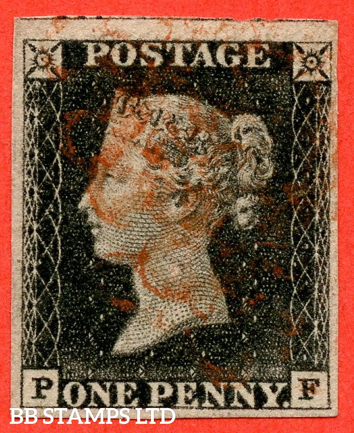 """SG. 3. A1 (3). AS6 h """" PF """". 1d Grey Black. Plate 1b. A used example with the listed variety """" Left side line recut """". Also """" Ray Flaws 10 / 7 NW Square and bottom line extends right """" varieties."""