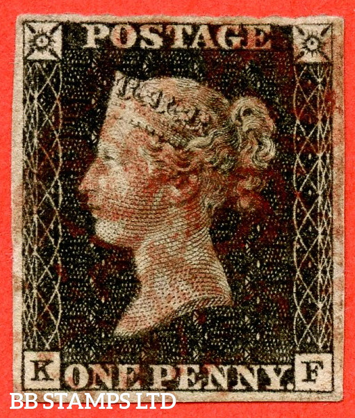 """SG. 3. A1 (3). AS2 . """" KF """". 1d Grey-Black ( worn plate ). Plate 1A. A good used example with the """" Ray flaws 10 / 5 NW square """" variety."""