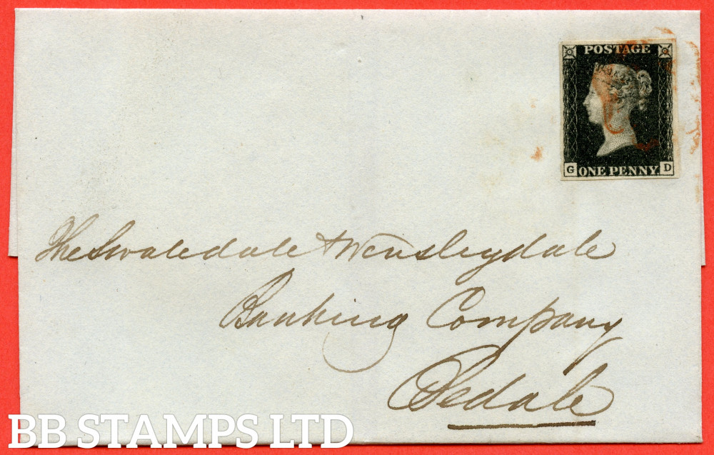"""SG. 1 c. A1 (1) h. AS24. """" GD """". 1d Intense Black. Plate 5. A very fine used example on cover from RICHMOND dated 18th September 1840. With the listed """" Two vertical guide lines in NE square """" variety."""