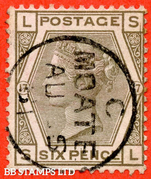 """SG. 161. J88. """" SL """". 6d Grey plate 17. A very fine """" August 1881 MOATE """" CDS used example."""