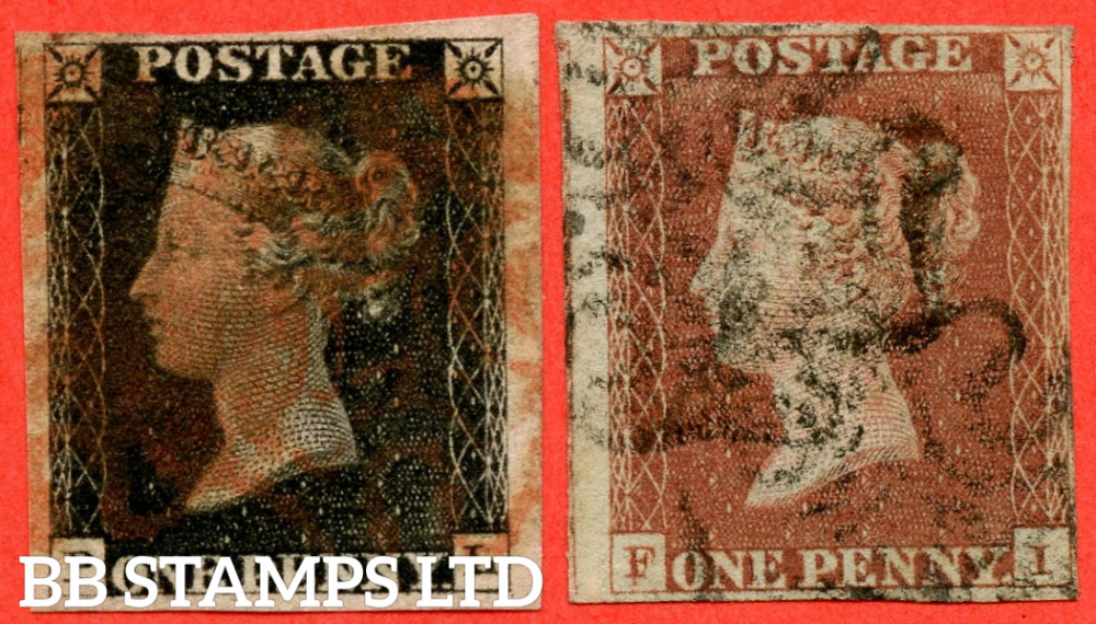 """SG. 2 & 7. A1 (2) & A2. AS5 & AS7. """" PL """". Plate 1b. A good used matched pair with the """" Ray Flaws 10 / 7 NW Square. Burr rub to base line and guide dot outside SE corner """" varieties."""