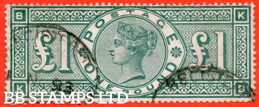 "SG. 212. K17. £1.00 Green "" KB "". A fine "" November 1893 "" oval registered cancel used example."