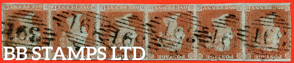 """SG. 8wi. B2 (1)c. B2. """" BB BC BD BE BF BG """". 1d Red Brown. Plate 156. INVERTED WATERMARK. A very fine used horizontal strip of 6. """" BF """" with the """" Lower side line recut """" variety. A RARE multiple."""
