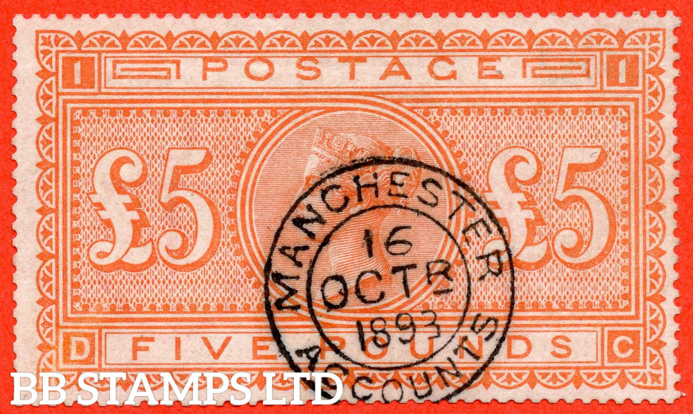 """SG. 137. J128a. """" DC """". £5.00 Orange. A very fine """" 16th October 1893 MANCHESTER ACCOUNTS """" CDS used example."""