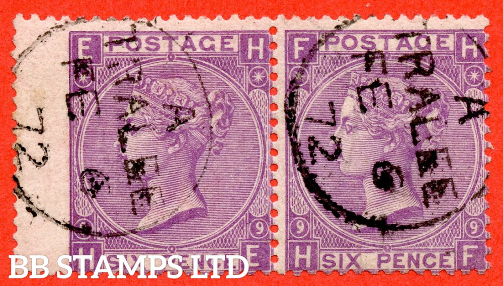 "SG. 109. J77. "" HE HF "". 6d Mauve. Plate 9. A very fine "" 6th February 1872 TRALEE "" CDS used horizontal pair."