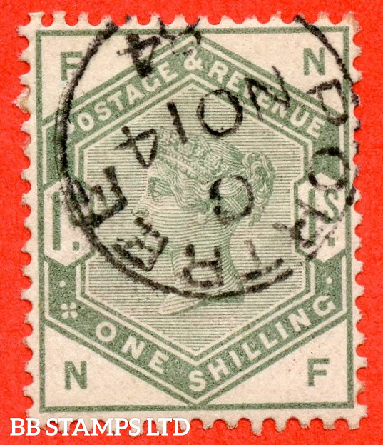 """SG. 196. K26. """" NF """". 1/- Dull Green. A very fine """" 14th November 1884 PORTREE """" CDS used example of this difficult Victorian stamp."""