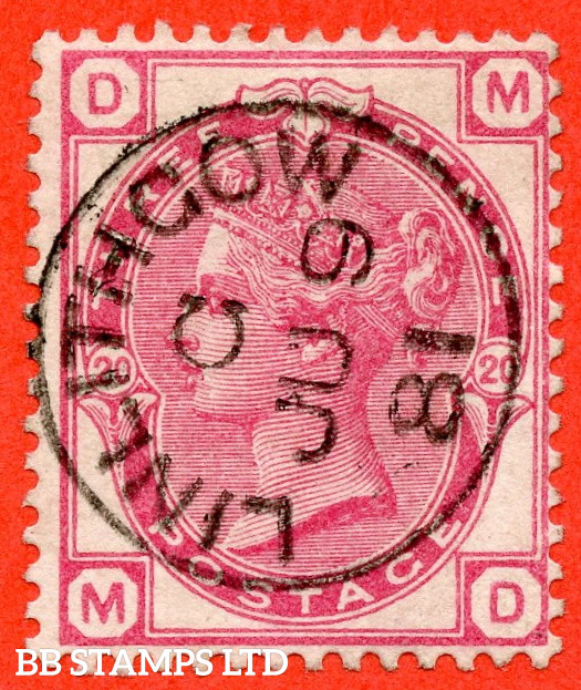 """SG. 158. J45. """" MD """". 3d  Rose. Plate 20. A SUPERB """" 9th June 1881 LINLITHGOW """" CDS used example."""