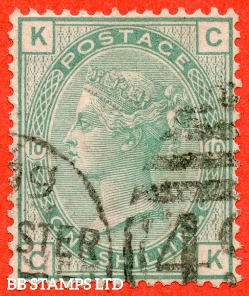 """SG. 150. J110. """" CK """". 1/- Green. Plate 10. A very fine used example with a fine clear profile."""