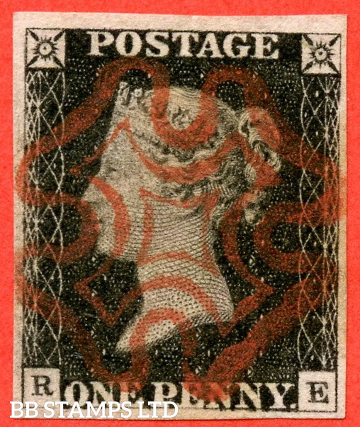 """SG. 2. A1 (2). AS5 g. """" RE """". 1d Black. Plate 1b. A superb used example with the listed """" Burr rubs to ' ONE PEN ' of ' ONE PENNY ' with ' NE ' of ' ONE ' nearly joined """" variety. Also """" Ray Flaws 10 / 7 NW square """" variety."""