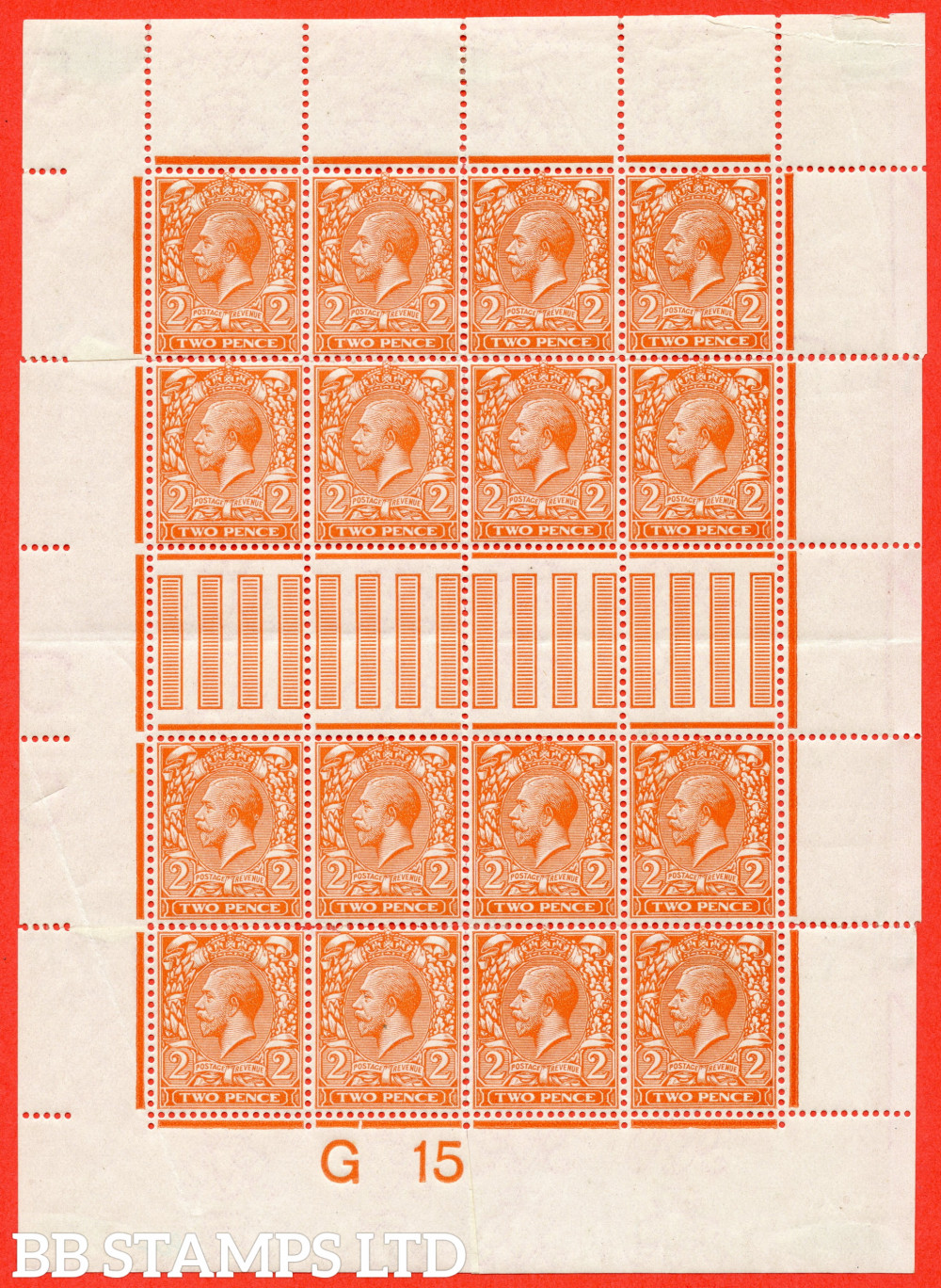 """SG. 367. N19 (2). 2d Reddish Orange. Die 1. A fine mounted mint control """" G15 imperf """" made up mini sheet to resemble a complete sheet. A nice addition to any GV collection"""