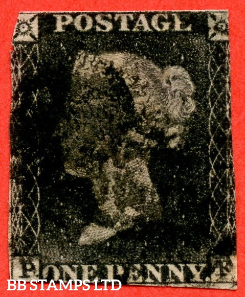 """SG. 3. A1 (3). AS6 h """" PF """". 1d Grey Black. Plate 1b. A used example with the listed variety """" Left side line recut """". Also """" Ray Flaws 10 / 7 NW Square and bottom line extends right """" varieties. Faults but a good spacefiller."""