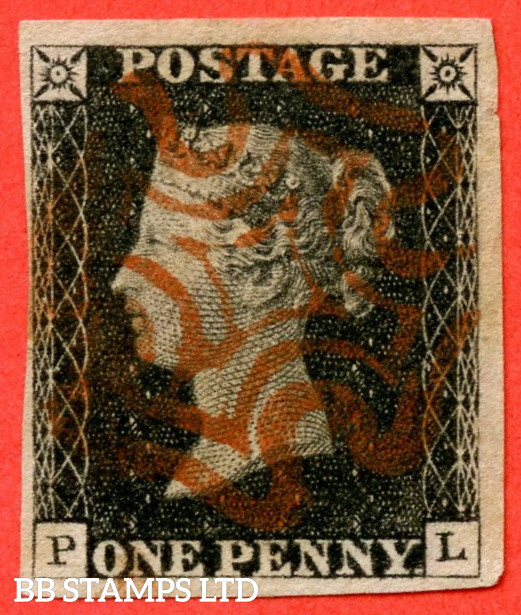 """SG. 2. A1 (2). AS5. """" PL """". 1d Black. Plate 1b. A very fine used example with the """" Ray Flaws 10 / 7 NW Square. Burr rub to base line and guide dot outside SE corner """" varieties."""