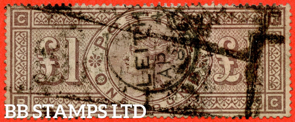 """SG. 185. K15. """" RC """". £1.00 Brown - Lilac. An average """" LEITH """" CDS used example."""