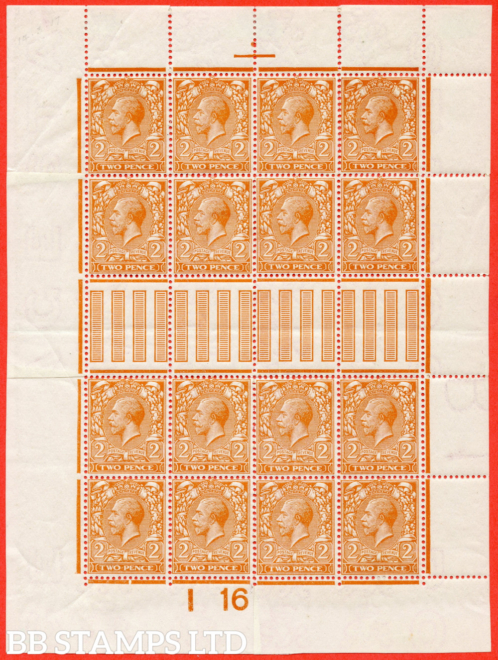 """SG. 367 variety N19 (4). 2d Pale Orange. Die 1. A fine mounted mint control """" I16 imperf """" made up mini sheet to resemble a complete sheet. A nice addition to any GV collection"""