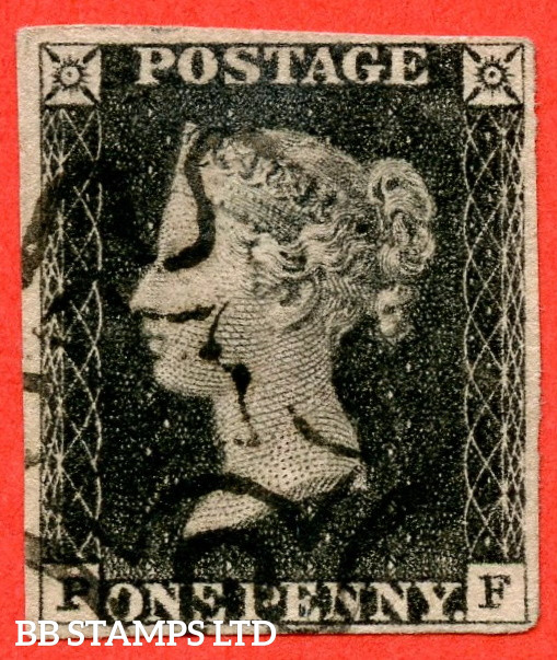 """SG. 2. A1 (2). AS5 h """" PF """". 1d Black. Plate 1b. A fine used example with the listed variety """" Left side line recut """". Also """" Ray Flaws 10 / 7 NW Square and bottom line extends right """" varieties."""