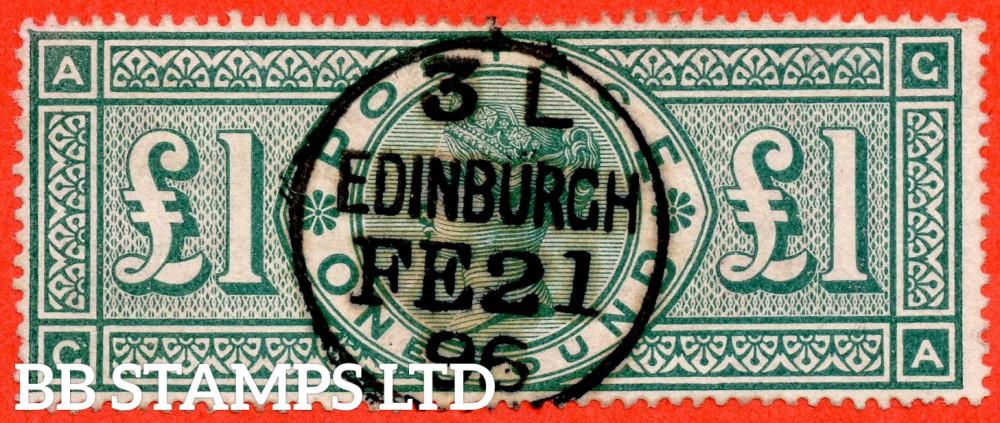 "SG. 212. K17. £1.00 Green "" GA "". A very fine "" 21st february 1896 EDINBURGH "" CDS used example."