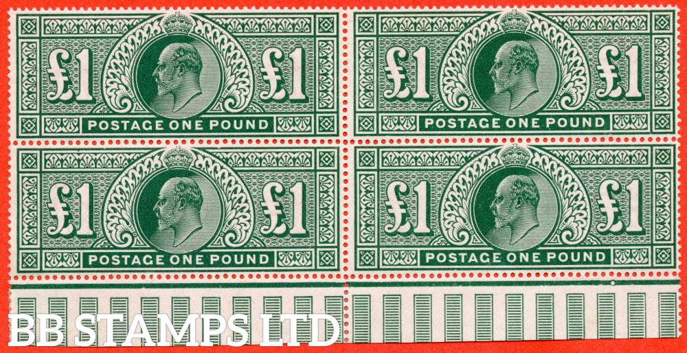 SG. 320. M56. £1.00 Deep Green. A superb UNMOUNTED MINT ( mounted in the margin only ) bottom interpanneau marginal block of 4. A RARE multiple.